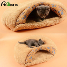Fashion Warming Cute Paw Print Comfort Kitten Sleep Bed with Paw Print Windproof Winter Cat House for Cats Puppy and Rabbits(China)