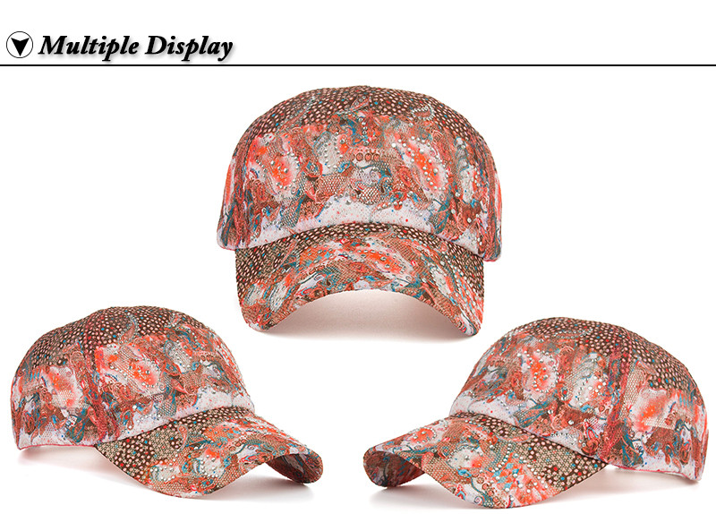 16 New Arrival high quality fashion Women cap Colorful flower rhinestone Baseball Cap snapback Adjustable Mesh Sunhat B343 5