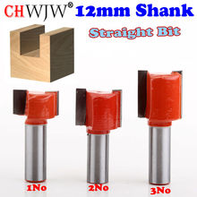 3pcs 12mm Shank Straight/Dado Router Bit Double Flute Straight Bit Carbide Woodworking Straight Router Bit Set