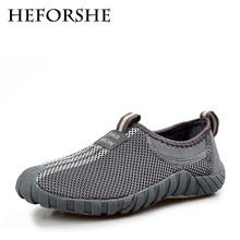 HEFORSHE Men Air Mesh Loafers 2017 Male Breathable Solid Color Round Toe Fashion Slip-On Casual Brand New Shoes Men Flats MXR192
