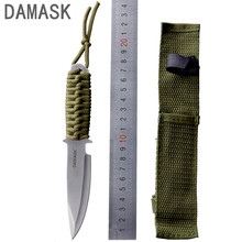 Damask Stainless Steel Fixed Blade Outdoor Straight Knife High Hardness Sharp Blade&Leggings Handle Best Outdoor Adventure Knife(China)