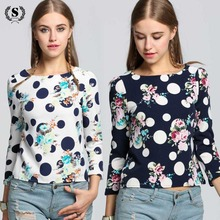 Buy Women Blouse 2017 Shirt Spring Autumn Chiffon Plus Size Feminina Top Tee Short Shirt Woman Clothing Full Sleeve O Neck Blusas for $7.22 in AliExpress store