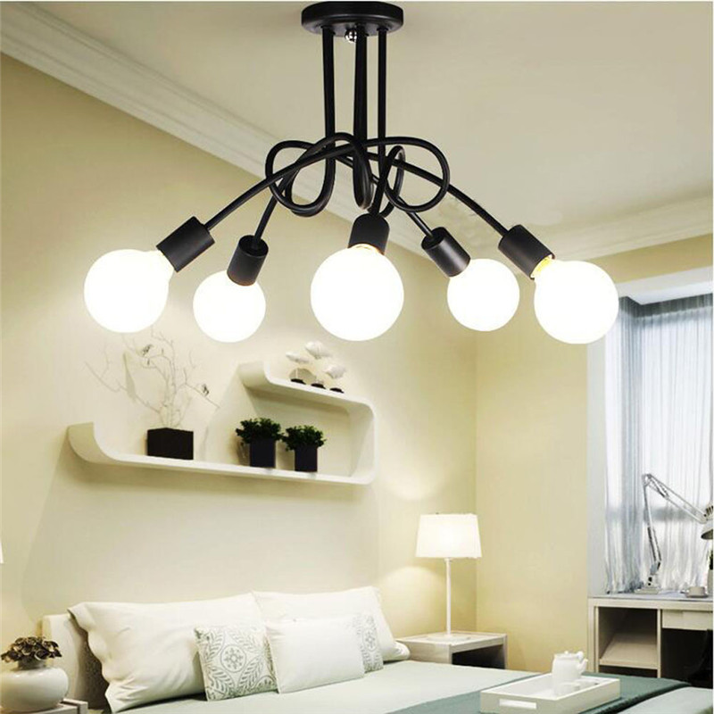Iron Surface Mounted Ceiling Lighting American Style 5 Heads Ceiling Lights Bedroom Living Room Ceiling Lamp For Clothing Store<br>