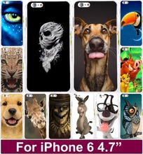 "Freeshipping Animal Pattern Lion Tiger Dog Owl custom printed cell phone case cover skin Shell for apple iphone 6 4.7"" iPhone6"