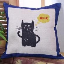 2017 Hot Selling Simplicity Lovely Cartoon Cat Pattern Cotton Throw Pillow Living Room Sofa Bedside Backrest Cushion Wholesale
