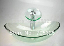 Transparent Basin Tap+Bathroom Sink Washbasin Glass Hand-Painted Bath Sink Combine Set Torneira Mixer Faucet +chrome drain  A220