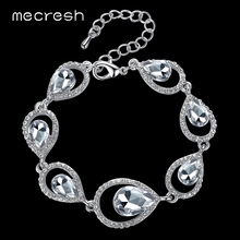 Buy Mecresh Pure Crystal Silver Color Waterdrop Bridal Wedding Accessories Chain Bracelets Women SL103 for $4.89 in AliExpress store