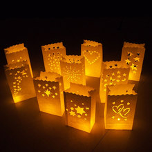 10PCS Wedding Heart Tea Light Holder Luminaria Paper Lantern Candle Bag Home Valentines Day Gifts Party Decoration