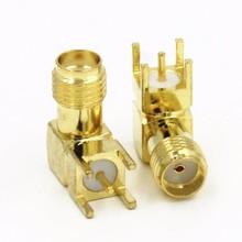 PCB mount SMA female jack right angle RF coaxial Solder connector converter gold plated