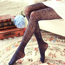 HOT 7 Colors Pantyhose Tights Women Thin Vintage Flower Floral Lace Hollow Out Sexy Stocking Collant Femme Medias Pantis Woman(China)