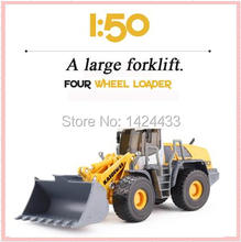 Low Price KDW 1:50 Diecast Big forklift Bulldozer Alloy Metal Mini Model Pull Back Automobiles Machine Model Kids boy Toys Gift