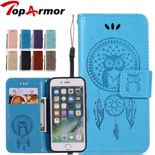 TopArmor for Fundas AppleIPHONE 5 5S SE Flip Leather Cases Campanula Owl Wallet Cover Stand Phone Cases(China)