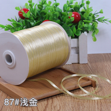 "3mm 1/8"" Light gold Silk Satin Ribbon Wedding Decoration Candy Cake Wrapping Craft Accessories Scrapbook Material (10 M/lot)(China)"
