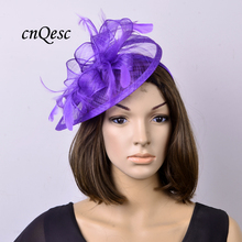 NEW colour Violet blue Feather sinamay fascinator hat for Wedding,Ascot Races,Party,Kentucky Derby,Melbourne Cup.FREE SHIPPING.(China)