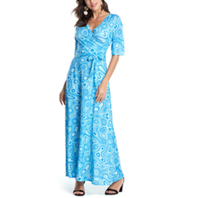 Buy Sexy Women Summer Boho Dress Vintage V-Neck Floral Print Short Sleeve Loose Maxi Long Dresses Casual Sashes Beach Party Dress for $17.40 in AliExpress store