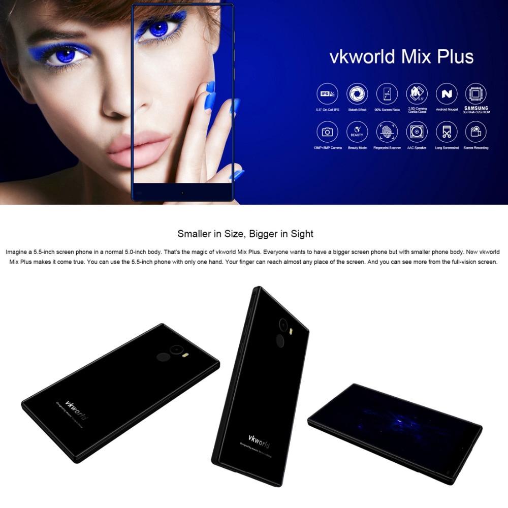 Original VKworld Mix Plus Full Edgeless Cell Phone 5.5 inch 3GB RAM 32GB ROM MTK6737 Quad Core Android 7.0 2850mAh Smartphone