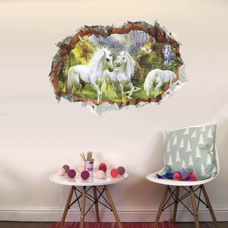 HTB1w3DMtnlYBeNjSszcq6zwhFXaP - unicorn horse forset wall stickers creative 3d break the wall effect picture For Kids Rooms