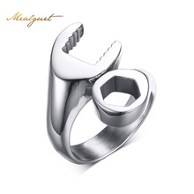 Meaeguet Wrench Punk Biker Ring For Men Stainless Steel Mechanic Ring For Male Party Jewelry Anel Masculino