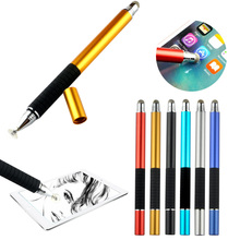 1000pcs W/ Logo 2016 Metal Fine Point Round Silicone Disc + Fiber Tip Capacitive Touch Screen Stylus Pen for Tablet Ipad Tablets