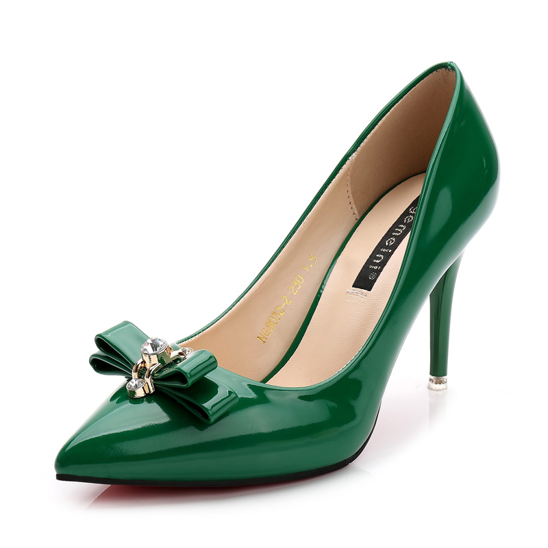 2017 Women High Heels Plus Size 34-39 Pointed Toe High Heels Shoes Bow rhinestone buckle Black Green White Womens Pumps Shoes<br><br>Aliexpress