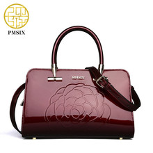 PMSIX 2017 New Autumn Winter Patent Leather Handbags Embossed Floral Women Shoulder Bag Fashion High Quality Casual Tote P120058(China)