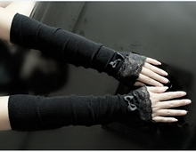 Women Sexy Black Lace Arm Sleeves Knitting Arm Warmers For Spring Bowknot Arm Cuff Elbow Length Arm Cover(China)