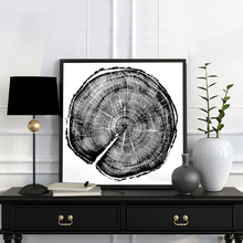 Modern abstract Nordic canvas prints Black and white Large Tree Rings LintonArt 4 piece posters for living room cuadros modernos(China)