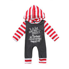 Christmas Baby Girls Boys Striped Hooded Clothing Long Sleeve Hoodies Romper Outfits Clothes US Stock(China)