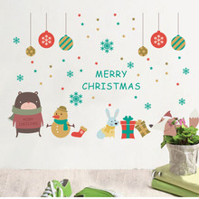 % Merry Christmas Decoration Snowman Snowflake Animals Wall Sticker Decals Store Window New Year Home Decor Poster Mural(China)