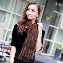 ZDFURS *  autumn and winter mink fur scarf ultra long tassel knitted mink fur muffler neckerchief fur scarf mink fur