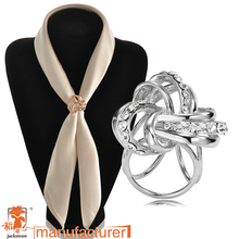 High quality!Fashion wholesale handmade cheap rhinestone brooch three circles twined gold scarf buckle brooches for wedding(China)