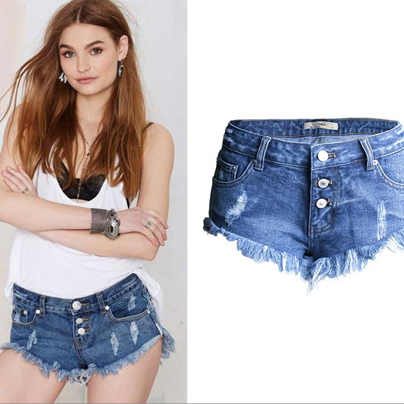 Olrain Womens Sexy Low Waist Ripped Hole Irregular Tassel Hem Denim Shorts Summer Cotton Washed Hot PantsОдежда и ак�е��уары<br><br><br>Aliexpress