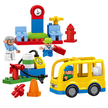 29PCS Original Bus Station Set Yellow School Bus Grandpa Brother Dolls Big Building Blocks Baby DIY Toys Compatible with Duplo(China)