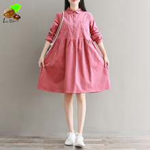 Women Small fresh Autumn Retro Cotton Corduroy Turn-Down Collar Sweet Dress Long-Sleeve Casual Loose Pink Cute Dresses for Mori(China)
