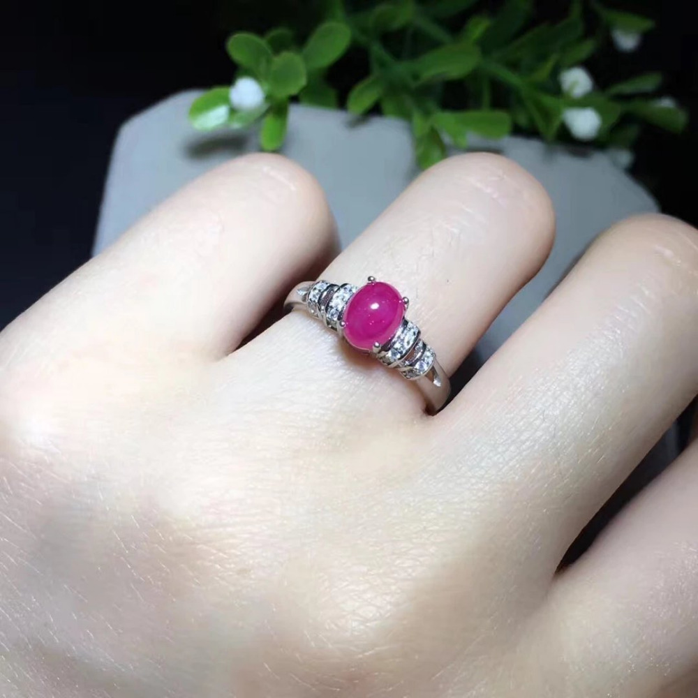 2017 Qi Xuan_Fashion Jewelry_Red Stone Simple Elegant Woman Rings_S925 Solid Sliver Fashion Rings_Manufacturer Directly Sales
