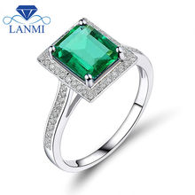Natural Wholesale Gem Fine Jewelry 14k/585 White Gold Diamond Emerald Engagement Ring for Women Wedding Party R0322