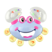 2017 Random Color Plastic Crab Toy Jingle Baby Kid Musical Educational Shaking Rattle Handbell
