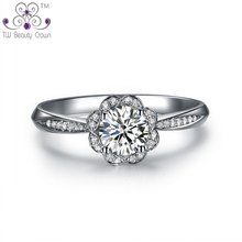 Good Quality Genuine 925 Sterling Silver Lovely Sun Flower Clear Cubic Zirconia Wedding & Engagement Rings For Women Female
