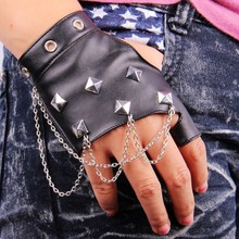 New Style Unisex Women Men PU Leather Half Finger Mittens Personality Rivet Dance Wear Stage Punk Gloves(China)