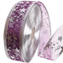 2 Meters Organza Bling Ribbon Wreath Christmas Present Weeding Wire Edged 4 Colors Decoration P(China)