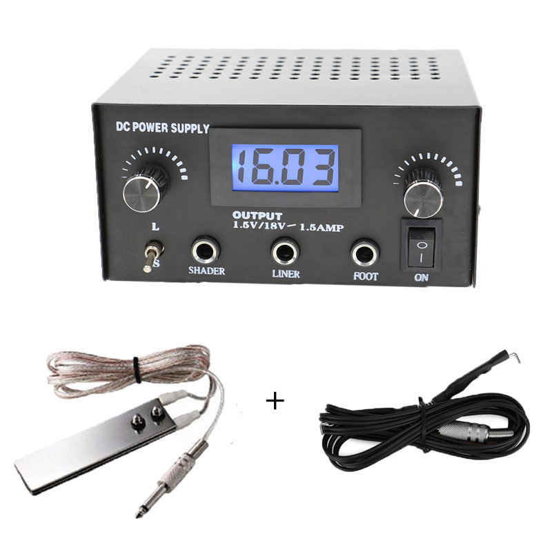 Professional Black Dual Digital LCD Tattoo Power Supply With Plug 1PCS Clip Cord 1PC Foot Pedal Cords Free Shipping<br>