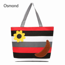 Random Color Inner Waterproof Women Handbags Stripe Canvas Lady Shoulder Bag Flower Banana Striped Beach Shopping Bag Large(China)