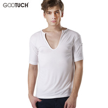 Buy Man's Sexy Solid Color Modal Shirt Underwear Clothing Deep V-neck Comfortable Men Plus Size Undershirts 4XL 5XL 6XL 5022