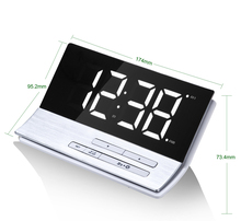 Simple Mirror Desktop Alarm Clock Snooze Mute Character Bedroom Electronic Digital Clock Display Backlight