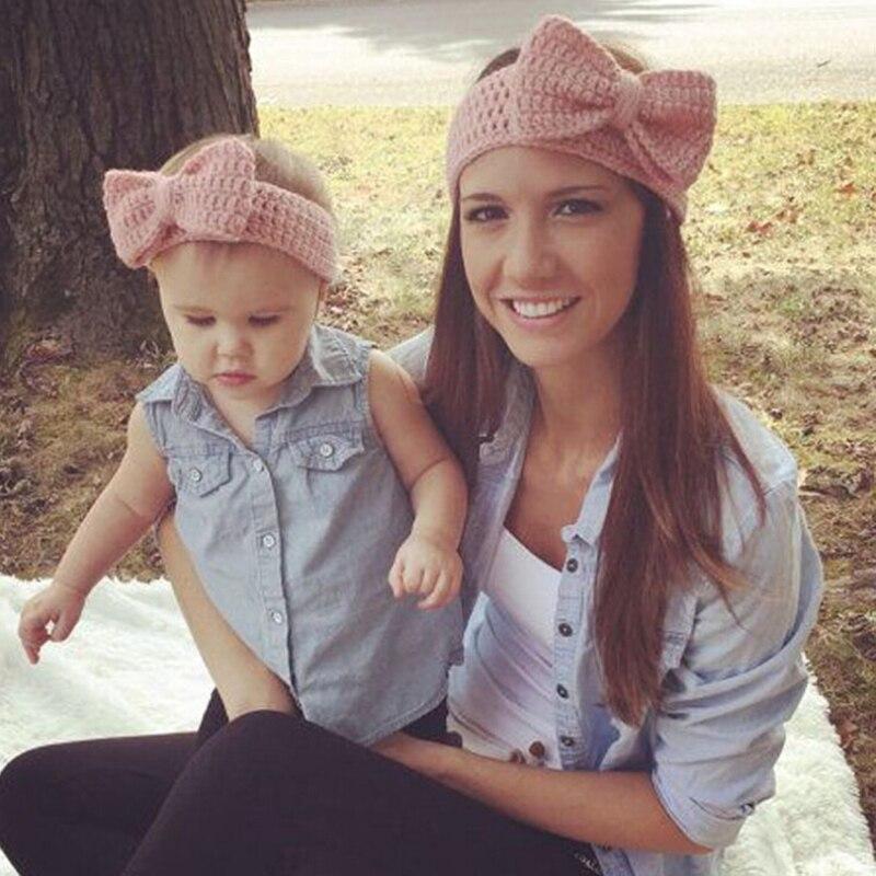 2Pcs/set Mom and Baby Matching Handmade Knit Bow  Headband Women Headband Infant Kids Crochet Hair bands Warm Hair Accessories<br><br>Aliexpress