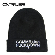 SNSUSK Beanies SSUR COMME DES FUCKDOWN Hats Hip-Hop Cotton Knitted Hat Caps Casual Skullies Hip-Hop Beanie Free Shipping(China)