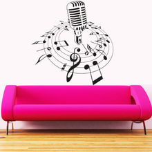New Creative Music Vinyl Wall Decal Microphone Mic Melody Notes Song Bedroom Art Wall Sticker CD Shop Home Decoration