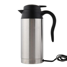 Stainless Steel Cup Kettle 750ml 12V Car Based Heating Travel Thermoses Coffee Tea Heated Mug Motor Hot Water For Car Truck Use(China)