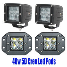 2pcs 5D 40W Led Flush Mount Pod Led Driving Working Light Lamp Off Road Spot Offroad Flood Search Fog Backup Reverse Auto Car