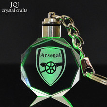 Arsenal Football Club Logo Laser Engraved Crystal Glass Octagonal Crafts With Changing Colors LED Light for Gifts Car Hanging(China)